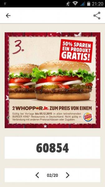 [Burger King] 2 x WHOPPR Jr. zum Preis von einem