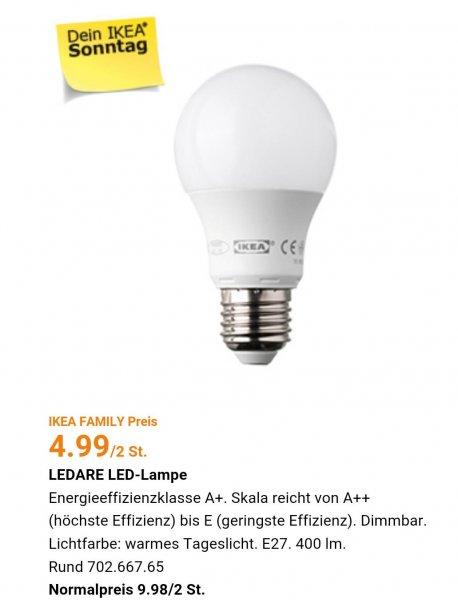 Ikea Family am Sonntag: 2 LED Leuchten für 4,99 € (PVG 9,99€) Lokal Berlin