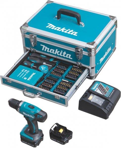 Makita Akku-Bohrschrauber 14,4 Volt DDF343RYX3 + 2x Akku 1,5 Ah + 96-tlg Zubehör für 159€ @ Redcoon