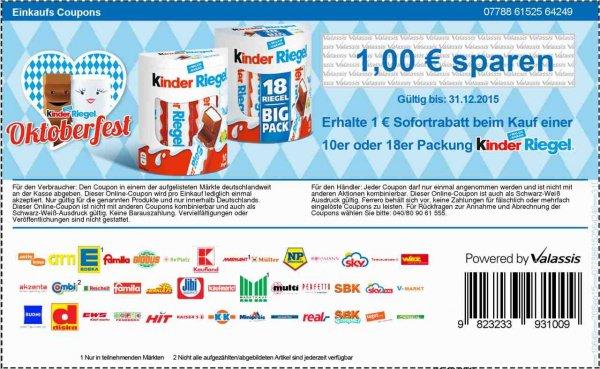 [TEGUT] Kinder Riegel 11er 232g für 0,66€ (Angebot+Coupon)