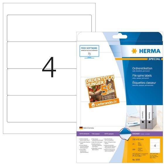 HERMA 5095 Ordneretiketten A4 192x61mm 100 Stk weiß mit 5€ Lieferando Gutschein