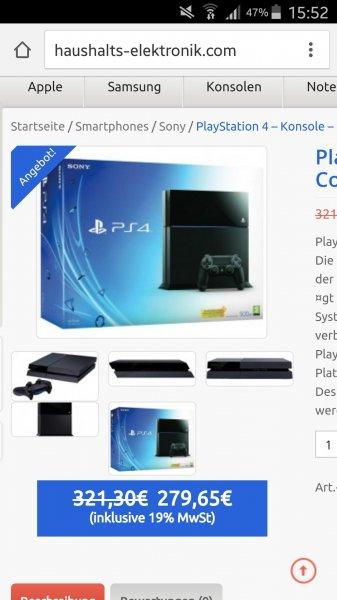 Playstation 4 für 279 Euro