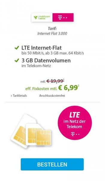 Mobilcom Debitel LTE im Netz der Telekom Internetflat 3 GB bis 50 Mbit/s bei Sparhandy für 6,99€