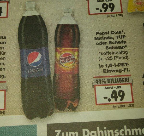 Pepsi Cola, Mirinda, 7up, Schwip Schwap ab 07.12.2015 @ Kaufland BW für 49ct 1,5 Liter
