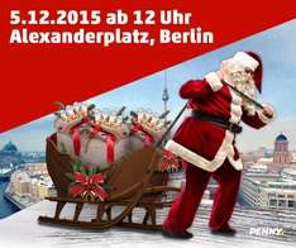 einen von 5.000 kinder® Schoko-Weihnachtsmännern(Alexanderplatz) kostenlos bekommen.