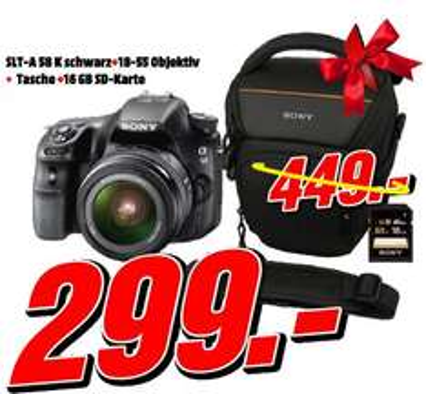 Media Markt (Porta) SONY SLT-A 58K SPIEGELREFLEXKAMERA + Objektiv 18-55mm + Tasche + 16GB Speicherkarte 299€