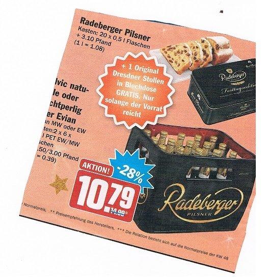 [HIT BUNDESWEIT] Radeberger Pilsner 20 x 0,5l Kasten + 1 Original Dresdner Stollen (250gr) in Blechdose für 10,79€