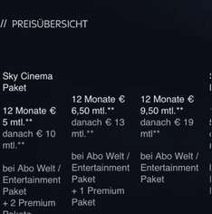 Sky Cinema und hd 12 Monate 50%