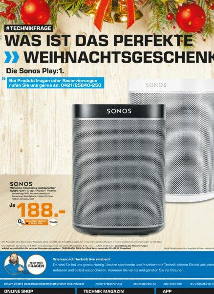 [Lokal Saturn Bremen-Habenhausen]  Sonos Play:1 für 188€ (idealo 219)