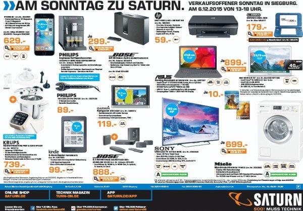 Saturn Siegburg: Nur am 06.12.2015 - Iphone 6S 16GB 629€, Bose Soundtouch 220 888€, Sony 49X8005 699€, Miele WDA111 699€, Philips 8841/01 299€, Bose Soundtouch 20 299€, Kinde Paperwhite 99€ und Garmin nüvi 2597 für 119€