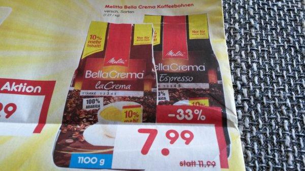Melitta Bella Crema 1,1kg Kaffeebohnen ALLZEITBESTPREIS 7,99€ @ Netto ohne Hund