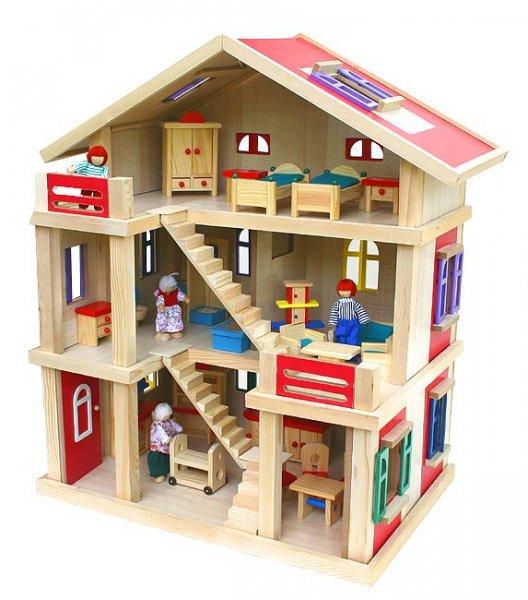 Weihnachtsknaller  Gigantisches Puppenhaus LOTTE 54x37x69cm Holz unbehandelt Möbel Puppen