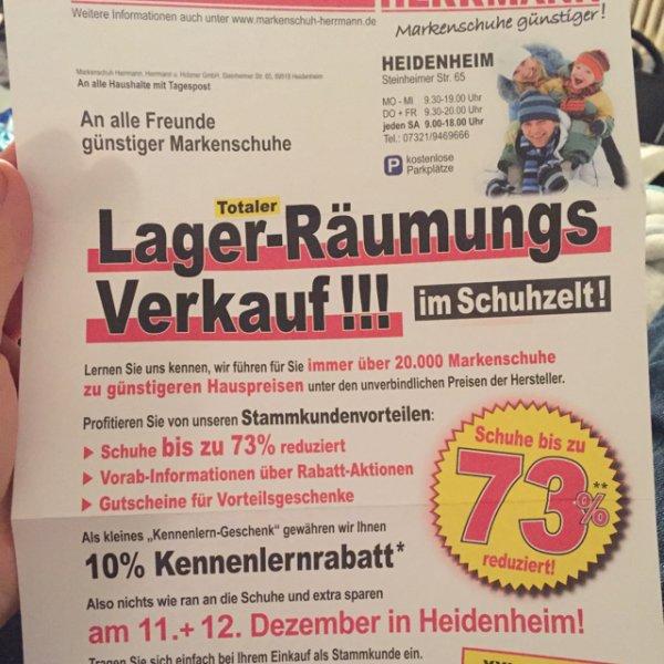 [Lokal] Markenschuh Herrmann in Heidenheim Markenschuhe bis zu 73% Reduziert + zusätzlich 10% kennenlern Rabatt / Nike / Adidas etc.....