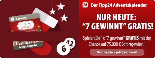 """Tipp24 neue Sofortlotterie """"7 gewinnt"""" Gratis statt 2€ am 6.12."""