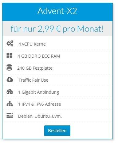 vServer mit 4 GB RAM und 4 Cores für 2,99 € im Monat!
