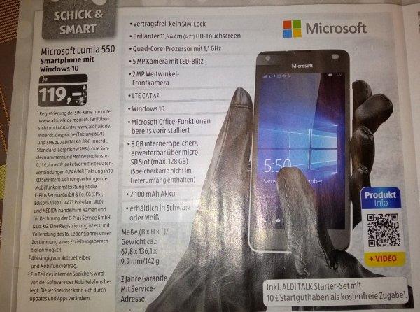 Lumia 550 ab 19.12. für 119 € bei Aldi Süd (+ 10 Euro Aldi Talk Guthaben)