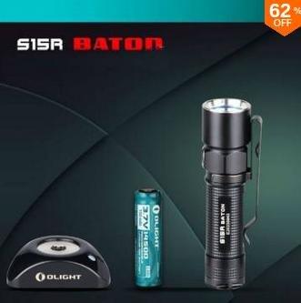 (banggood) Taschenlampe OLIGHT S15R Baton mit Akku + Ladegerät