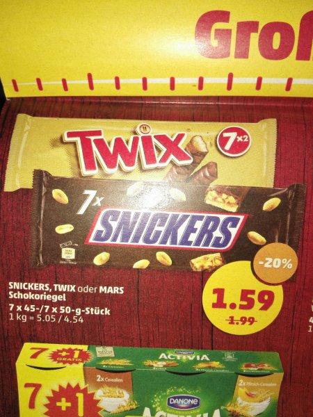 Penny twix oder snickers 7 Riegel für je 1,59€; 5,05 bzw 4,54€/kg