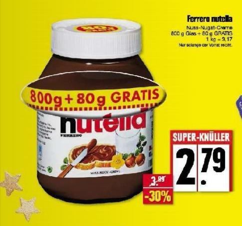 [Edeka] Nordbayern / Thüringen / Sachsen Ferrero nutella 800g + 80g = 880g Glas für 2,79€ (Kilo für 3,17€)