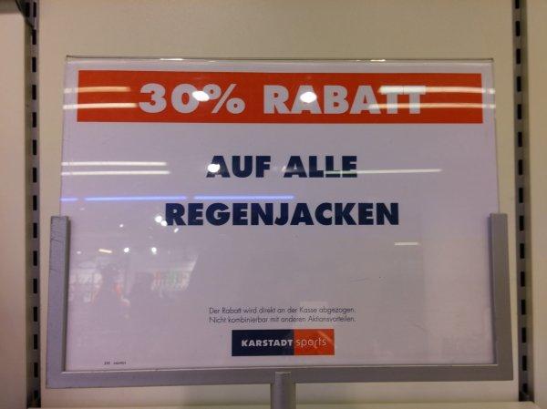 Karstadt sports (München/Stachus/bundesweit) 30% auf alle Regenjacken