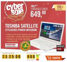 Cyber Sale > Toshiba Satellite / 15 Zoll Full HD / 8 GB GB RAM / Quad-Core bis 3,2 GHu / AMD Radeon R5 M330 Grafik (2048 MB) (PSKXWE-01201FGR) (-150€ idealo)