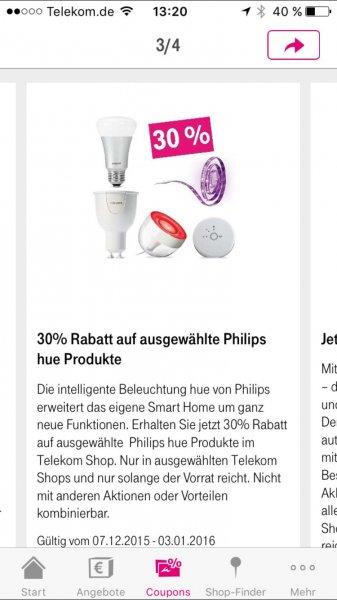 30% Rabatt auf ausgewählte Philips hue Produkte