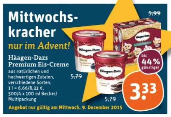 (tegut) Häagen-Dazs Premium Eis-Creme nur am 9. Dezember für 3,33 EUR