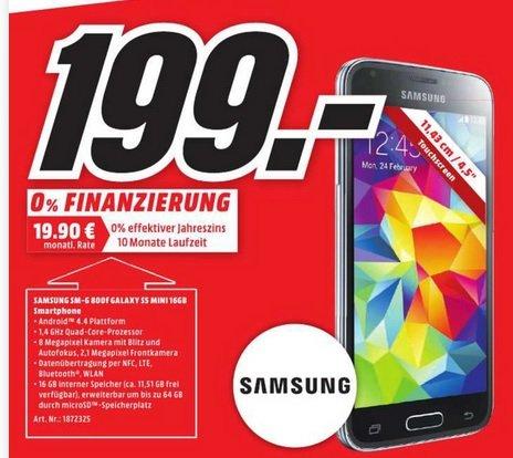 Samsung S5 Mini 16GB für 199€ (PVG: 245€)@Mediamarkt bundesweit!!