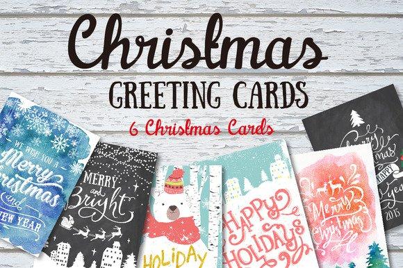6 Weihnachtsgruss Karten von Creativemarket