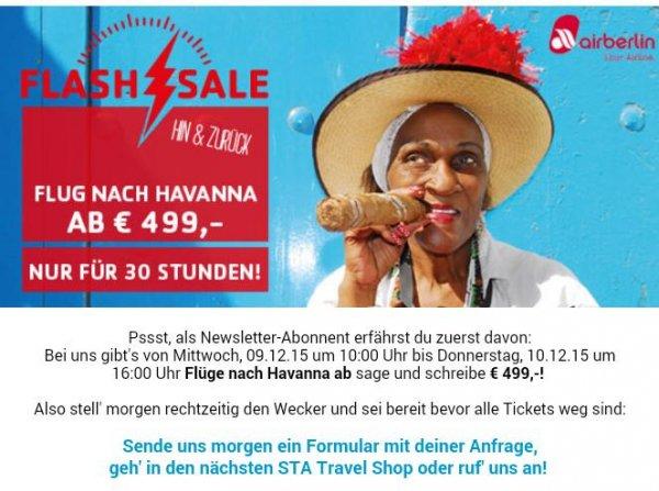 Flüge nach Kuba via STA Travel  für 499 Eur Hin und Rückflug
