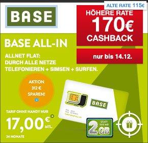 [nur noch heute] [Qipu] BASE: all-in Tarif – Allnet Flat, SMS Flat, 2 GB, Napster,  Datenautomatik deaktivierbar – für 17€ monatlich+ 170€ Cashback - somit effektiv 9,92€ monatlich