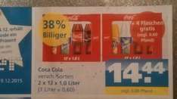 [Toom Getränkemarkt] Coca Cola Limonade zwei Kästen (2 x 12 x 1Liter) + 4 Flaschen gratis für 14,44 Euro, knapp 52 Cent/Liter
