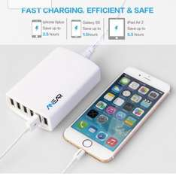 [Amazon] Anear 5V /12A / 60W 6-Port USB Ladegerät mit PowerSmart Technologie für 16,99€ mit Prime