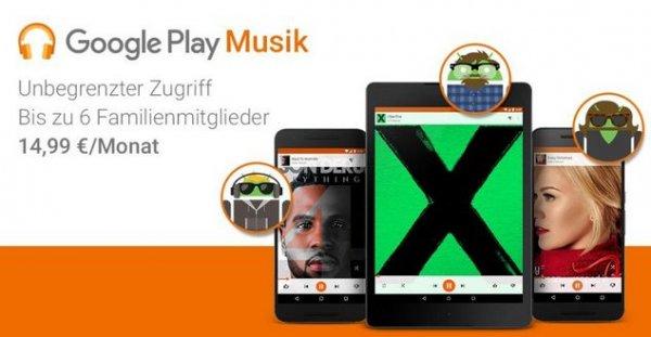 Google Play Musik Familientarif - bis zu sechs Mitglieder gleichzeitig (bestenfalls für 2,50 Euro / Person