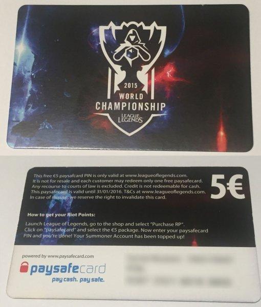 [ebay.de] League of Legends: 5 EUR Paysafecard für 3,50
