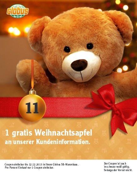 Globus Deutschlandweit - ein kostenloser Weihnachtsapfel am 11.&12.12.2015