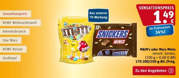 Diverse Süßigkeiten im Angebot wie M&M's oder Snickers Minis  -  Rewe Bundesweit