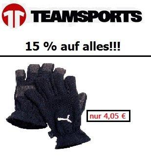 [11Teamsports] 15 % auf den gesamten Shop! z.B. Puma Handschuhe für 4,05 € inkl. Versand