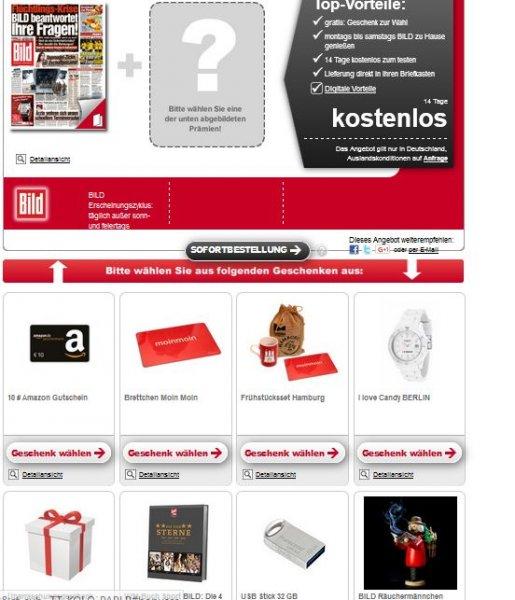 14 Tage Bild kostenlos + Gratis Geschenk u.a. 10 Euro Amazon Gutschein
