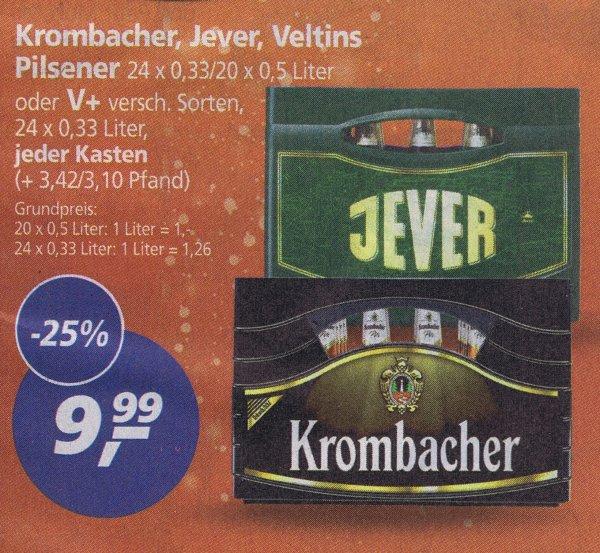 [Real] Krombacher, Jever, Veltins Pilsener oder V+ Sorten je nur 9,99€ ab Montag den 14.12