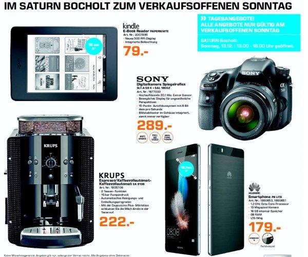 [Lokal Saturn Bocholt Verkaufsoffener Sonntag]: u. a. Sony Spiegelreflex für 289€ (345,90€), Kindle Paperwhite für 79€ (99,99€), Panasonic LED TV 50 für 549€ (675,75€)