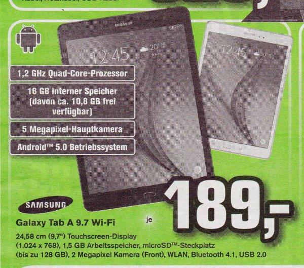 Samsung Galaxy Tab A 16GB für 189€ in allen Alphatecc Märkten