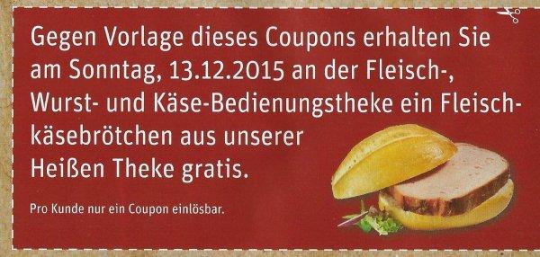 Rewe Bonn (Godesberg): kostenloses Fleischkäse-Brötchen am 13.12.2015