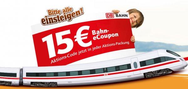 15€ Bahn-Gutschein MBW 59€ nurnoch heute & morgen (bis 13.12.15)