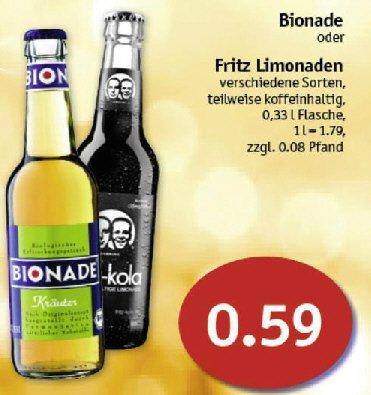 [Sky Coop Supermärkte] Fritz Kola / Brause für 0,59 Euro je Flasche und Bionade auch