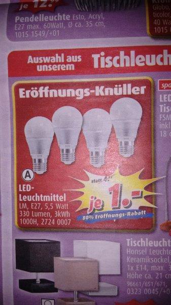 [Lokal KF] 1€ LED-Leuchtmittel E27 330 Lumen, 5,5 Watt, 3kWh, 1000H @Roller Kaufbeuren