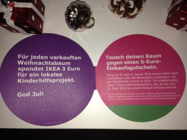 (Lokal Essen) Ikea Tannenbaum kaufen, dabei automatisch 3 Euro spenden und 5 Euro Gutschein kassieren