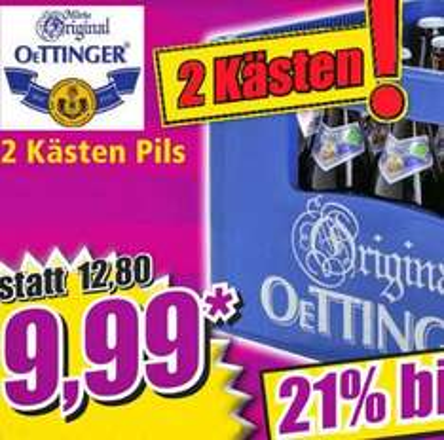 [Norma] 2 Kästen Oettinger Pils für nur 9,99 €