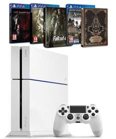 Sony PlayStation 4 (Neue Version) in schwarz oder weiß + Assassin's Creed : Syndicate mit Steelbook + Fallout 4 mit Steelbook+ Metal Gear Solid V : The Phantom Pain inkl.Vsk für 385,06 €