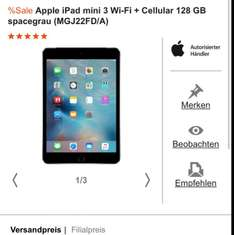 Apple iPad mini 3 Wi-Fi + Cellular 128 GB spacegrau (MGJ22FD/A) für 479€